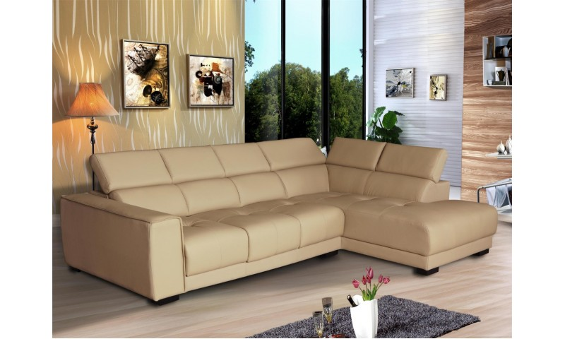 ASHTON CORNER MODULAR LOUNGE WITH CHAISE END IN FULL GENUINE THICK LEATHER