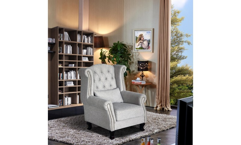 VIVA CHESTERFIELD WING CHAIR IN LEATHER WHERE IT COUNTS